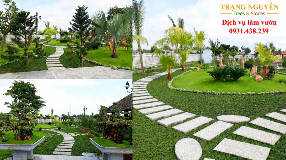 Trồng cỏ trong vườn