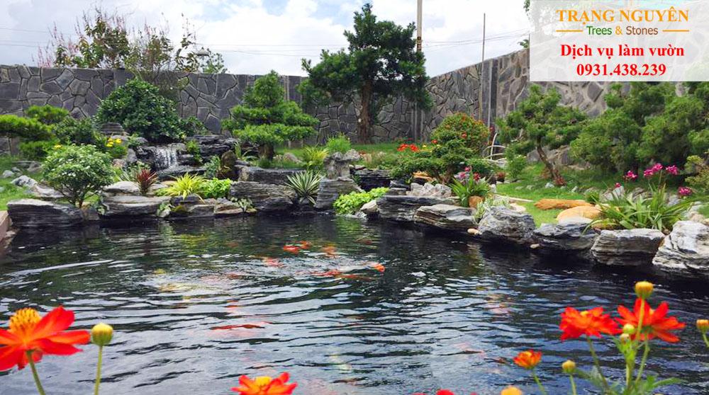 Thi công sân vườn hồ cá koi